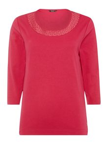 TIGI Three Quarter Sleeve Embroidered Top