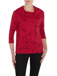 Cowl Neck Print Jumper