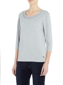 TIGI Three Quarter Sleeve Swirl Neck Top