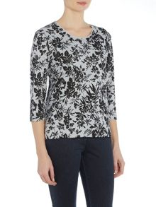 TIGI Three Quarter Sleeve Printed Top