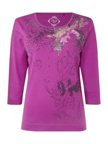TIGI Three Quarter Sleeve Scoop Neck Top