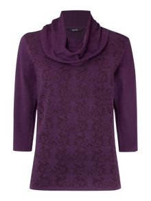 TIGI Three Quarter Sleeve Jacquard Jumper