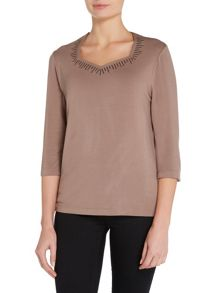 TIGI Three Quarter Sleeve Sweetheart Neck Top