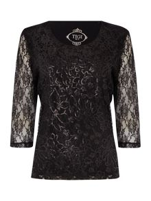 TIGI Three Quarter Sleeve Sequin Top