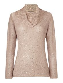 TIGI Cowl Neck Sequin Jumper