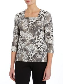 TIGI Three Quarter Sleeve Animal Print Top