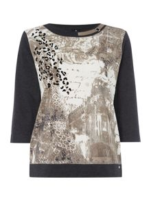 TIGI Three Quarter Sleeve City Print Top