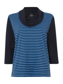 TIGI Cowl Neck Striped Front Jumper