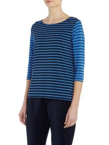 TIGI Three Quarter Sleeve Striped Top