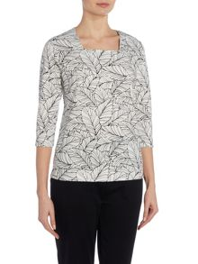 TIGI Three Quarter Sleeve Leaf Print Top