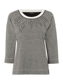 TIGI Leaf Embroidered Top