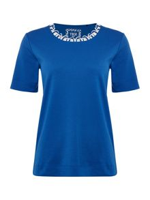 TIGI Short Sleeve Round Neck Jersey Top