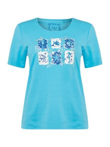 TIGI Short Sleeve Crew Neck Print Top