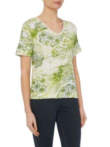 TIGI Short Sleeve V Neck Print Jersey Top