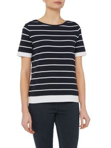 TIGI Short Sleeve Striped Top