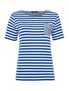 TIGI Short Sleeve Striped Pocket Top