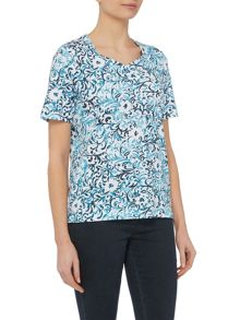 TIGI Short Sleeve Swirl Print Top