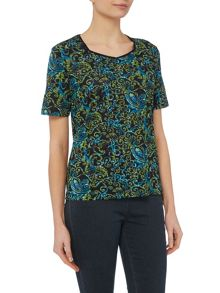 TIGI Short Sleeve Sweetheart Neck Top
