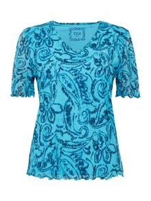 TIGI Short Sleeve V Neck Print Top