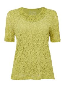 TIGI Short Sleeve  Lace Top