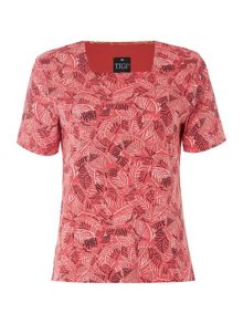 TIGI Short Sleeve Leaf Print Square Neck Top