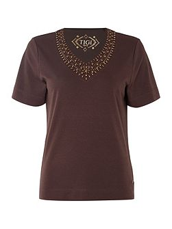 Short Sleeve V Neck Jersey Top