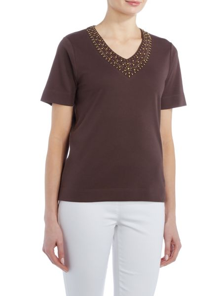 TIGI Short Sleeve V Neck Jersey Top