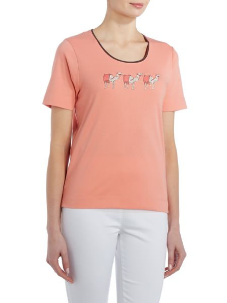 TIGI Short Sleeve Camel Print Top