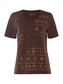 Short Sleeve Ethnic Print Top