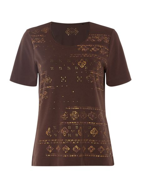 TIGI Short Sleeve Ethnic Print Top