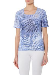 TIGI Short Sleeve All Over Print Top