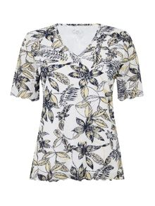 TIGI V Neck All Over Print Top