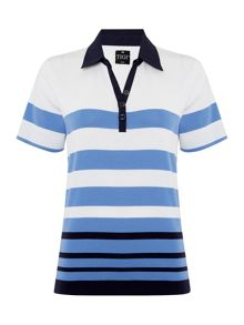 TIGI Short Sleeve Stripe Polo Top