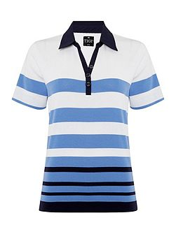 Short Sleeve Stripe Polo Top