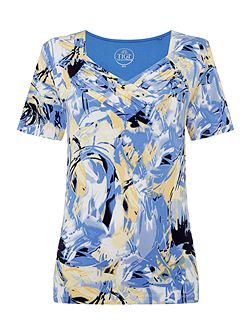 Gathered V Neck All Over Print Top
