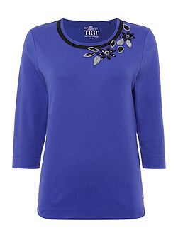 Three Quater Sleeve Crew Neck Top