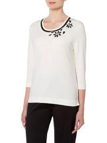TIGI Three Quater Sleeve Crew Neck Top