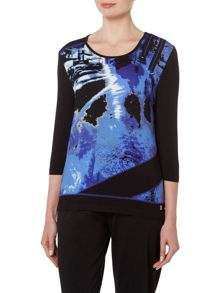 TIGI Three Quarter Sleeve Urban Print Top