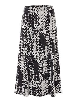 Dogtooth All Over Print Skirt