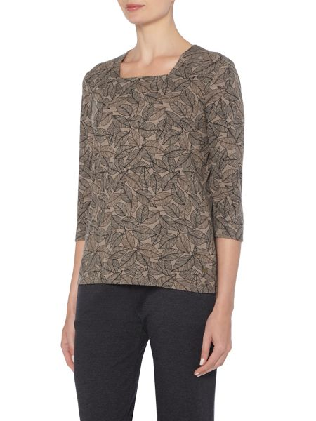 TIGI Leaf Print Square Neck Top