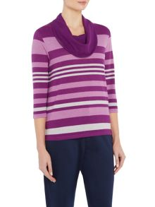 TIGI Stripe Cowl Neck Top