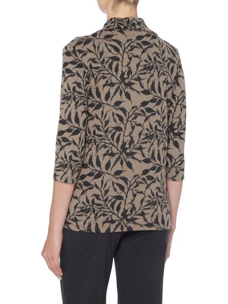 TIGI Leaf Print Cowl Neck Top
