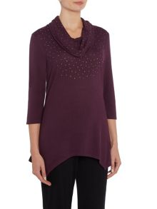 TIGI Cowl Neck Asymmetric Hem Top