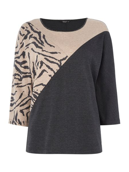 TIGI Asymmetric Animal Print top