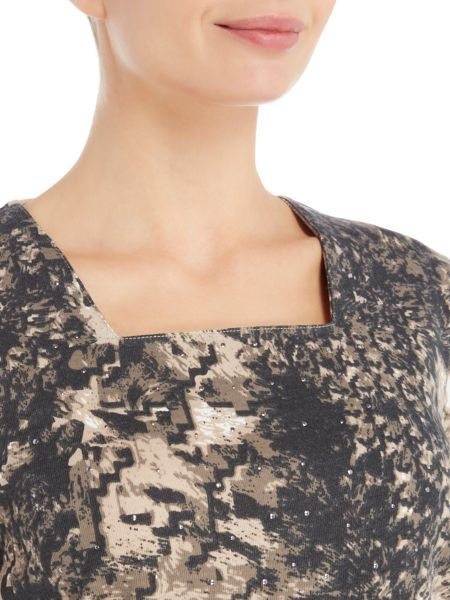 TIGI Print Square Neck Top