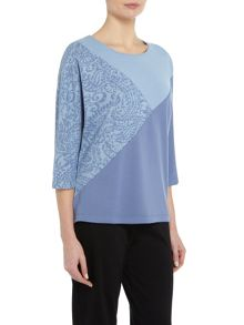 TIGI Cut & Sew Crew Neck Top