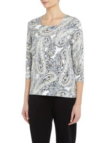 TIGI Paisley Print Square Neck Top