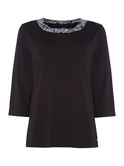 Ruched Neck Three Quarter Sleeve Top