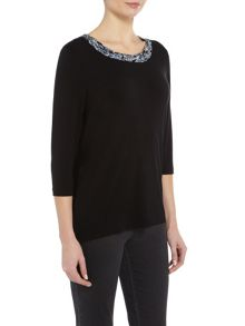 TIGI Ruched Neck Three Quarter Sleeve Top