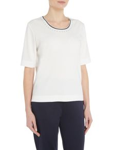 TIGI Half Sleeve Diamante Neck Top